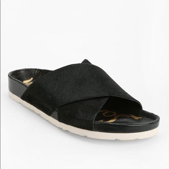 87eac036aa8e7f Sam Edelman Adora Black Calf Hair Leather Slides. M 5a71efa746aa7ca9b31adaa0